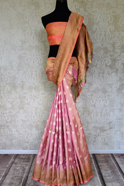 Buy pink color Banarasi silk saree with floral zari border online in USA and zari buta. Shop more such traditional Indian saris, embroidered sarees, pure silk sarees in USA from Pure Elegance clothing fashion store this wedding season.-full view