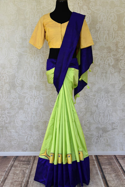 Buy fluorescent green applique silk saree with blouse online in USA from Pure Elegance. Be occasion ready always with a range of traditional Indian sarees with blouses, pure silk sarees, Banarasi saris, Kanchipuram sarees available at our Indian fashion store in USA. Grab your favorite pieces now also available at our online store.-full view