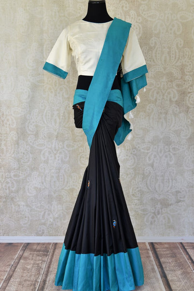Shop black applique silk sari with blouse online in USA from Pure Elegance. Be occasion ready always with a range of traditional Indian sarees with blouses, pure silk sarees, Banarasi saris, Kanchipuram sarees available at our Indian fashion store in USA. Grab your favorite pieces now also available at our online store.-full view