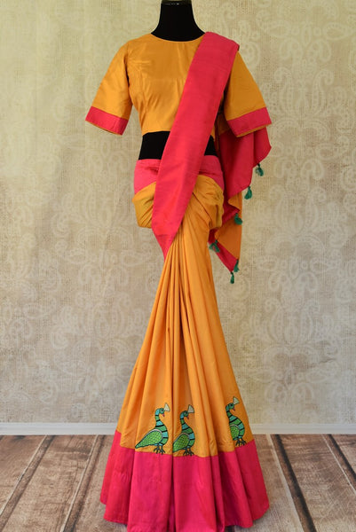 Shop mustard applique silk saree with saree blouse online in USA from Pure Elegance. Be occasion ready always with a range of traditional Indian saris with blouses, pure silk sarees, Banarasi saris, Kanchipuram sarees available at our Indian fashion store in USA. Grab your favorite pieces now also available at our online store.-full view