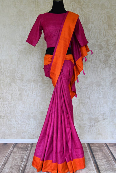Shop magenta applique work silk saree with orange border online in USA from Pure Elegance. Update your wardrobe with ethnic Indian designer sarees, pure silk sarees with blouses available at our Indian fashion store in USA. -full view
