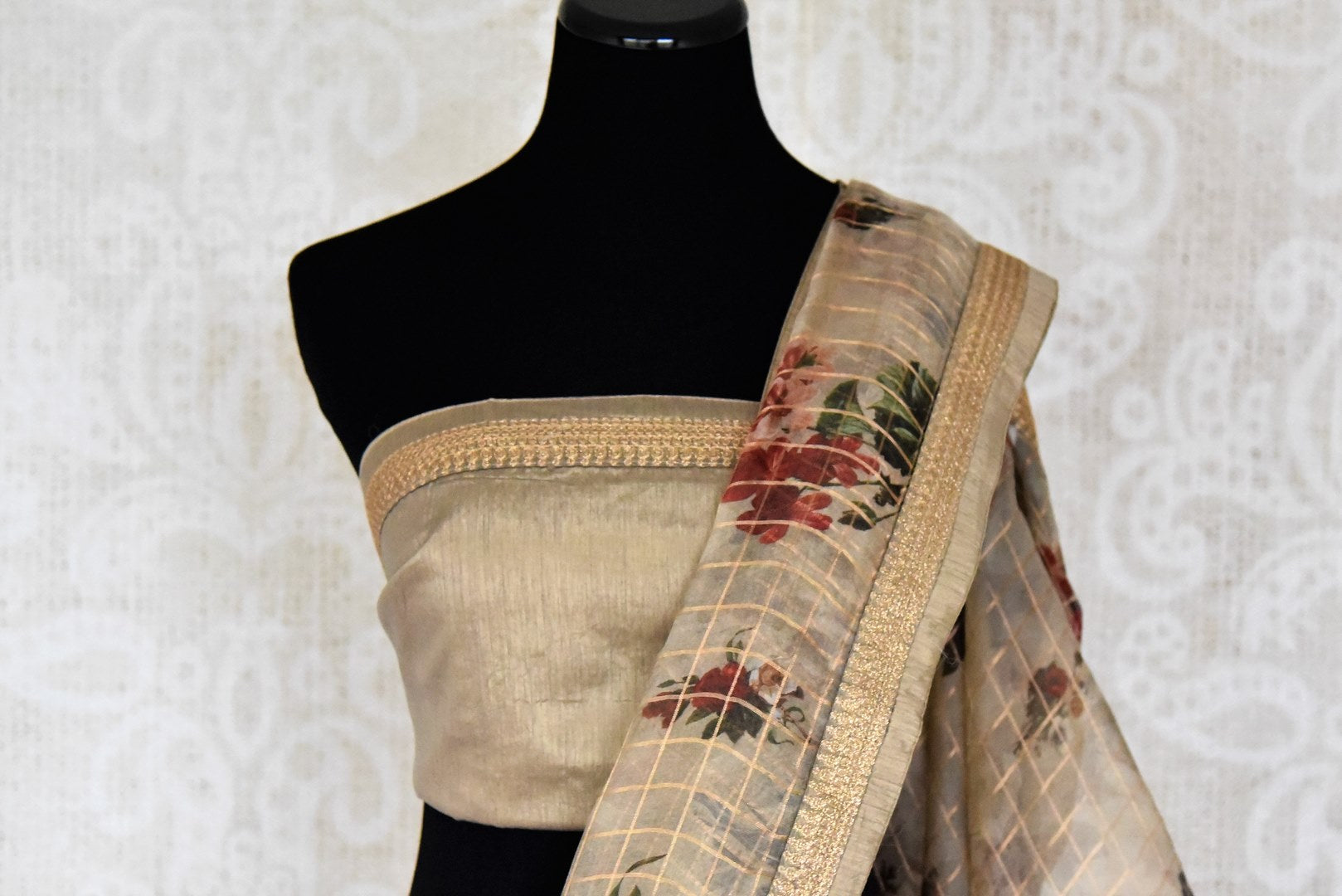 Buy beige floral print zari check kora organza saree online in USA from Pure Elegance. Let your ethnic style be one of a kind with an exquisite variety of Indian designer sarees, pure silk sarees, Bollywood sarees from our exclusive fashion store in USA.-blouse pallu