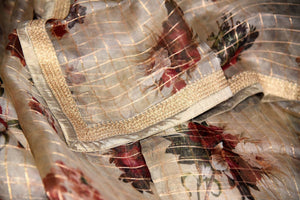 Buy beige floral print zari check kora organza saree online in USA from Pure Elegance. Let your ethnic style be one of a kind with an exquisite variety of Indian designer sarees, pure silk sarees, Bollywood sarees from our exclusive fashion store in USA.-details