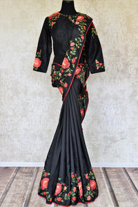43a2ba5d6d Buy black embroidered crepe silk sari with full sleeves blouse online in USA  from Pure Elegance