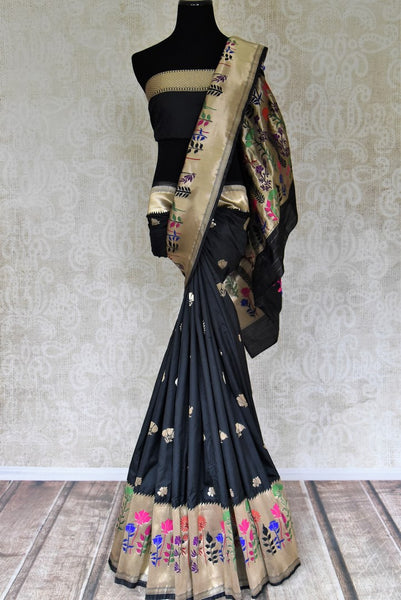 Buy black Bangalore silk sari with zari border online in USA and minakari floral design. Be the talk of every occasion in beautiful Indian designer sarees with blouses, pure silk sarees, Banarasi saris from Pure Elegance clothing fashion store in USA this wedding season.-full view