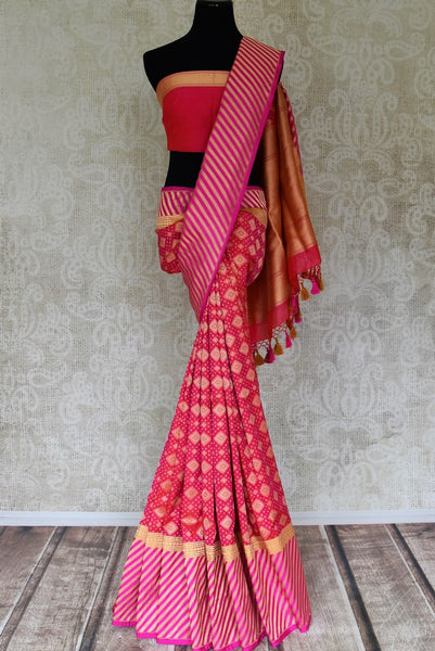 Buy rich pink Banarasi silk sari with zari border online in USA. Shop more such traditional Banarasi sarees, pure silk saris, embroidered saris in USA from Pure Elegance clothing fashion store this wedding season.-full view