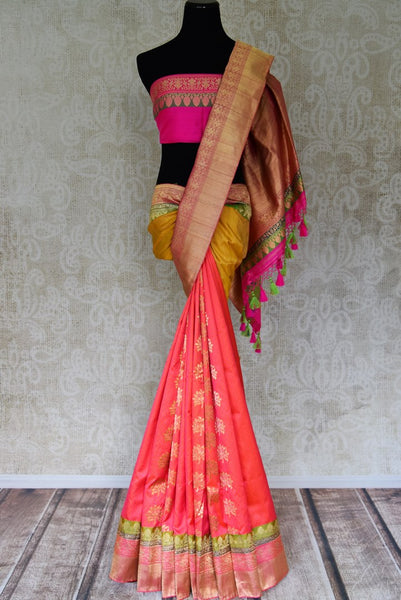 Buy beautiful multicolor Banarasi silk sari with zari border online in USA. Shop more such traditional Banarasi sarees, pure silk saris, embroidered saris in USA from Pure Elegance clothing fashion store this wedding season.-full view