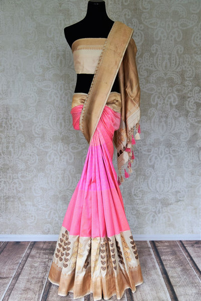 Shop pink self stripes Banarasi sari with zari border online in USA. Shop more such traditional Banarasi sarees, pure silk sarees, embroidered saris in USA from Pure Elegance clothing fashion store this wedding season.-full view