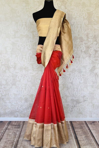 Shop red organza Banarasi sari online in USA with golden zari border. Elevate your traditional style with exquisite Indian handloom sarees from Pure Elegance Indian clothing store in USA. Explore a range of stunning pure silk saris, Banarasi sarees, wedding sarees especially from India for women in USA.-full view