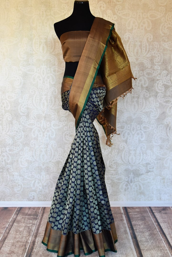 Buy blue Kanchipuram sari online in USA with overall unicorn and chakra zari buta from Pure Elegance. Add exquisite traditional Kanjivaram sarees, wedding sarees, pure silk sarees in beautiful designs to your ethnic wardrobe from our Indian clothing store in USA or shop online.-full vie
