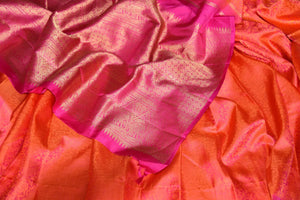 Buy orange Kanjeevaram sari online in USA with jacquard weave and pink zari pallu. Elevate your traditional style with exquisite Indian designer sarees from Pure Elegance Indian clothing store in USA. Explore a range of stunning silk sarees, embroidered sarees, wedding sarees especially from India for women in USA.-details