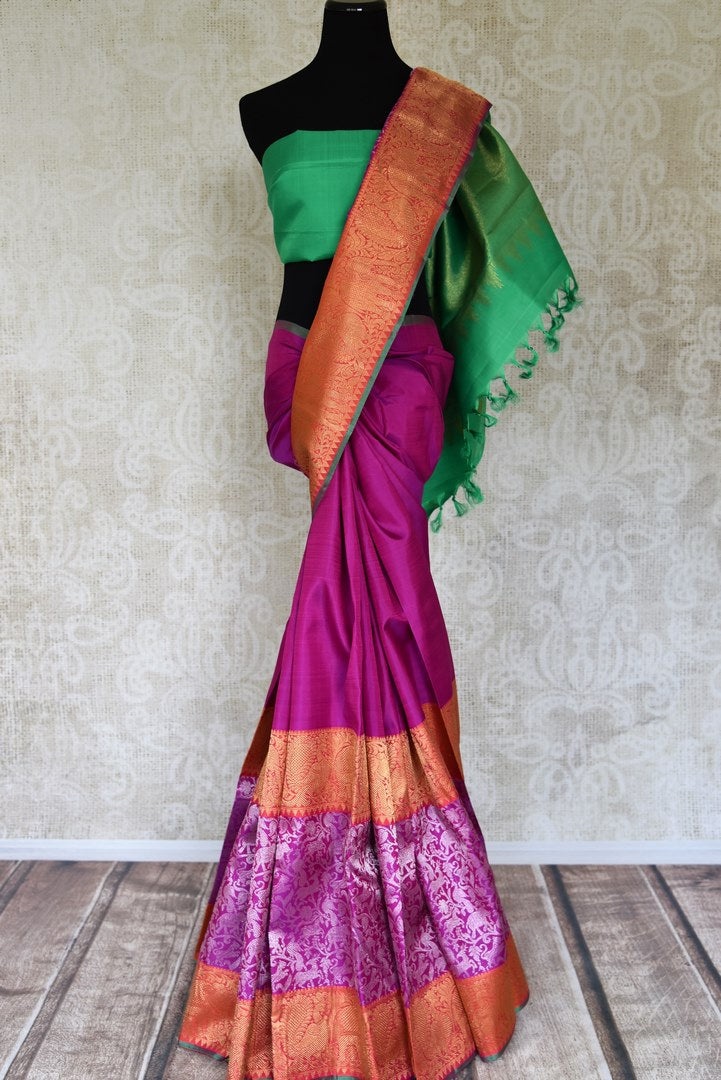 Buy purple Kanjeevaram saree online in USA with heavy silver and gold zari border. Flaunt the best of Indian styles on special occasions with traditional Kanchipuram sarees, handloom silk sarees, embroidered sarees from Pure Elegance Indian fashion store in USA.-full view