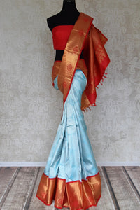 Buy sky blue silver zari saree with red gold zari border online in USA from Pure Elegance. Make your ethnic style perfect with a range of exquisite Indian designer saris with blouses, embroidered sarees, pure handloom sarees available at our exclusive Indian fashion store in USA and also on our online store. Shop now.-full view