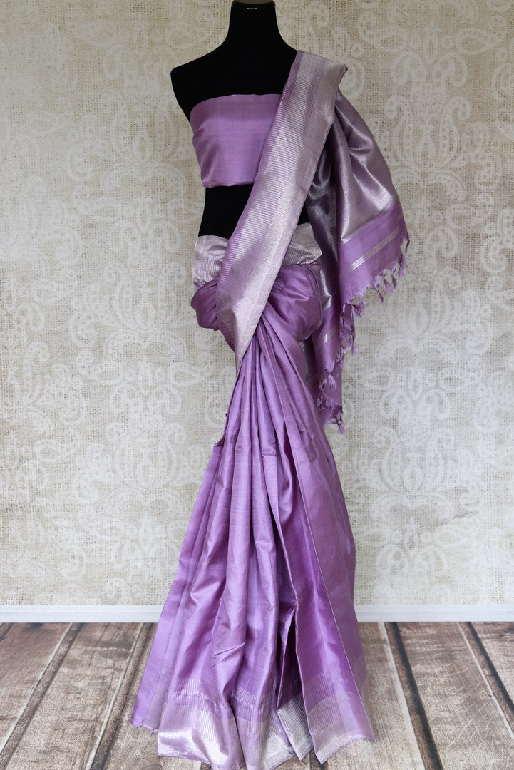 Shop lavender Kanjeevaram sari with silver zari border online in USA. Shop more such exquisite Indian sarees in USA from Pure Elegance. Get floored by a range of designer sarees, Kanchipuram silk saris at our Indian fashion store in USA.-full view