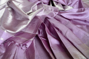 Shop lavender Kanjeevaram sari with silver zari border online in USA. Shop more such exquisite Indian sarees in USA from Pure Elegance. Get floored by a range of designer sarees, Kanchipuram silk saris at our Indian fashion store in USA.-details