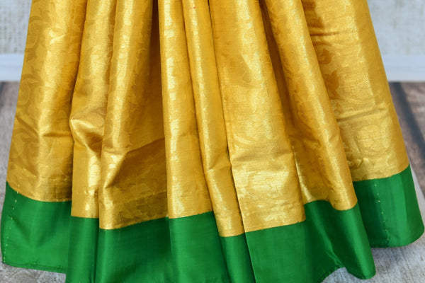 Buy yellow Kanchipuram saree with overall zari work online in USA from Pure Elegance. Make your ethnic style perfect with a range of exquisite Indian designer saris with blouses, embroidered sarees, Kanchipuram silk sarees available at our exclusive Indian fashion store in USA and also on our online store. Shop now.-pleats