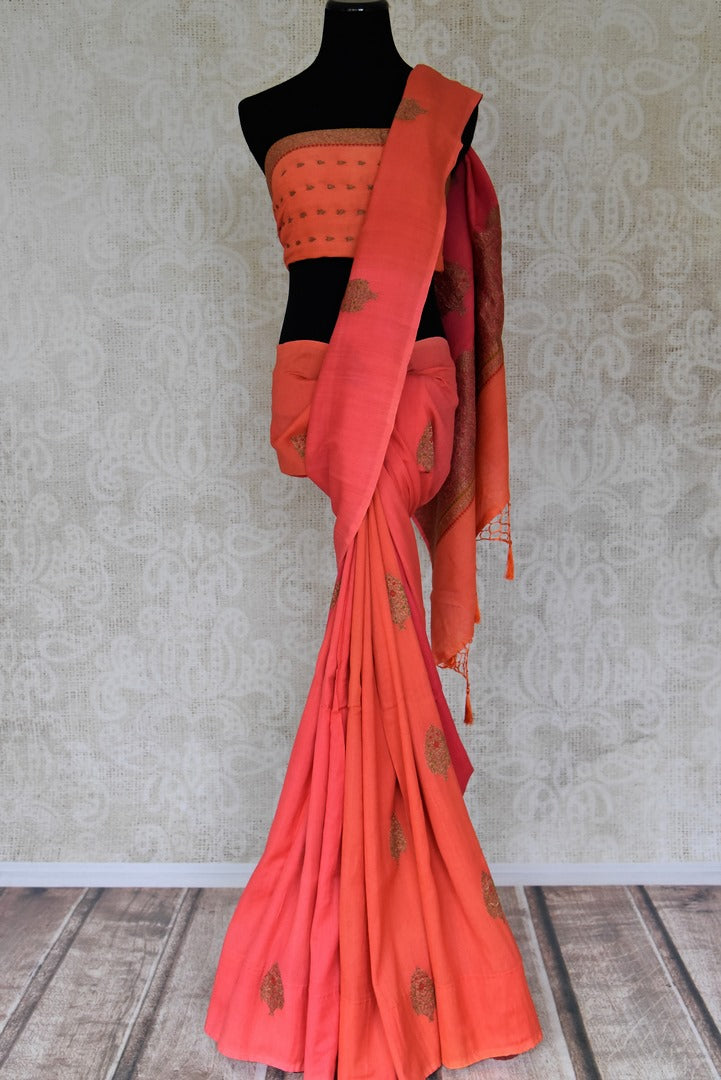 Buy pink and orange muga Benarasi sari online in USA with antique zari buta. Shine bright on special occasions with traditional Indian sarees, handloom sarees, pure silk saris in rich colors and designs from Pure Elegance Indian fashion store in USA.-full view
