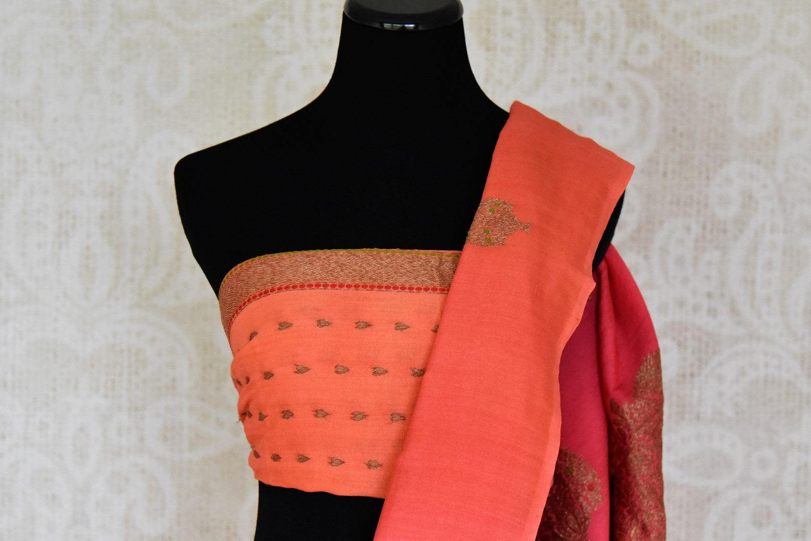 Buy pink and orange muga Benarasi sari online in USA with antique zari buta. Shine bright on special occasions with traditional Indian sarees, handloom sarees, pure silk saris in rich colors and designs from Pure Elegance Indian fashion store in USA.-blouse pallu