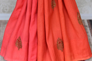 Buy pink and orange muga Benarasi sari online in USA with antique zari buta. Shine bright on special occasions with traditional Indian sarees, handloom sarees, pure silk saris in rich colors and designs from Pure Elegance Indian fashion store in USA.-pleats