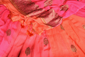 Buy pink and orange muga Benarasi sari online in USA with antique zari buta. Shine bright on special occasions with traditional Indian sarees, handloom sarees, pure silk saris in rich colors and designs from Pure Elegance Indian fashion store in USA.-details
