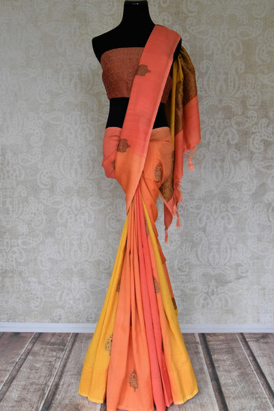 Buy yellow and orange muga Benarasi saree online in USA with antique minakari zari buta. Shine bright on special occasions with traditional Indian sarees, handloom sarees, pure silk saris in rich colors and designs from Pure Elegance Indian fashion store in USA.-full view