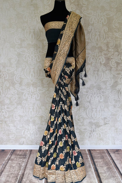 Buy beautiful green color georgette Benarasi saree online in USA with minakari zari floral design. Shine bright on special occasions with traditional Indian sarees, handloom sarees, pure silk saris in rich colors and designs from Pure Elegance Indian fashion store in USA.-full view