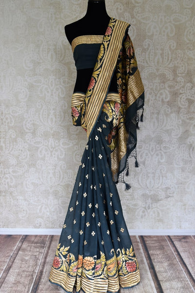 Shop green color georgette Banarasi saree online in USA with zari buta and minakari zari floral design. Shine bright on special occasions with traditional Indian sarees, handloom sarees, pure silk saris in rich colors and designs from Pure Elegance Indian fashion store in USA.-full view