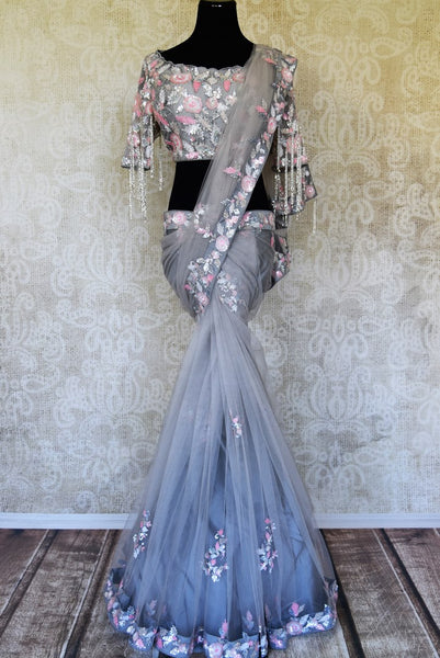 Shop grey hand embroidered net saree online in USA with designer saree blouse. Flaunt the best of Indian styles on special occasions with Indian designer saris, handloom silk sarees, embroidered sarees from Pure Elegance Indian fashion store in USA.-full view