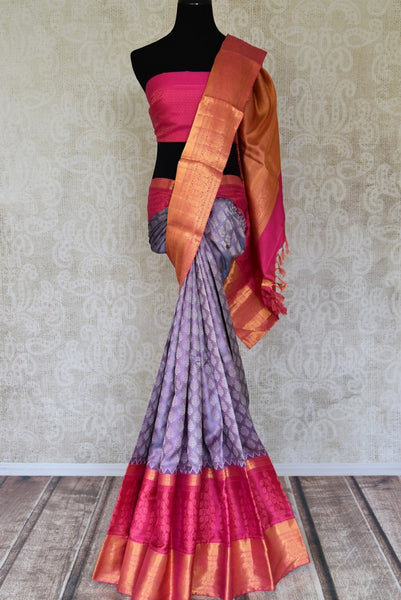 Buy purple Kanjivaram sari online in USA with pink and golden zari border. Flaunt the best of Indian styles on special occasions with Indian Kanjeevaram saris, handloom silk sarees, embroidered sarees from Pure Elegance Indian fashion store in USA.-full view