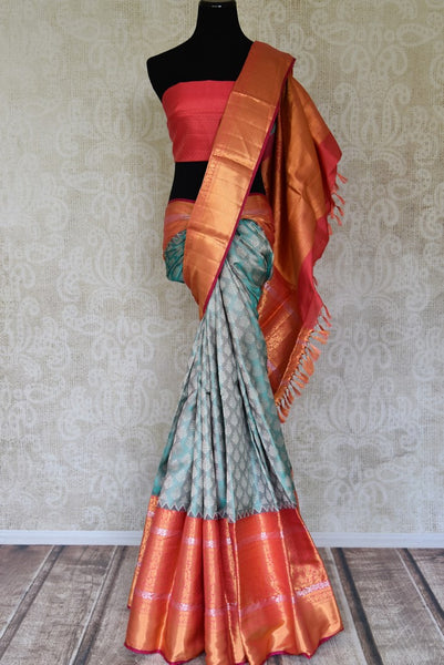 Buy grey blue Kanjivaram saree online in USA with buta and pink gold zari border. Flaunt the best of Indian styles on special occasions with Indian Kanjeevaram saris, handloom silk sarees, embroidered sarees from Pure Elegance Indian fashion store in USA.-full view