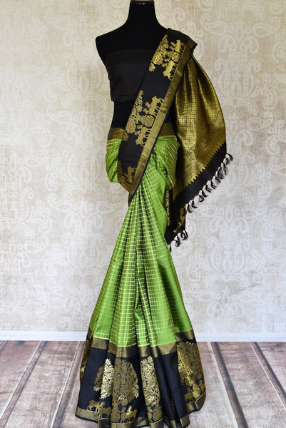Buy green color check zari Kanchipuram online in USA with big tree and animal buta. Flaunt the best of Indian styles on weddings and special occasions with Indian Kanchipuram silk sarees, designer silk saris, embroidered sarees from Pure Elegance Indian clothing store in USA.-full view