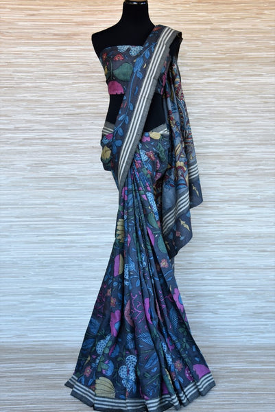 Buy blue handpainted bright floral Kalamkari print tussar saree online in USA. Make your style extraordinary on weddings and special occasions with Indian designer saris, handloom sarees, pure silk saris from Pure Elegance Indian clothing store in USA.-full view