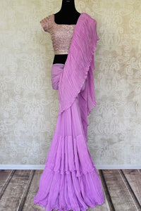 Shop mauve crinkled georgette saree with silk embroidered blouse online in USA from Pure Elegance. Make your ethnic style perfect with a range of exquisite Indian designer sarees with blouses, embroidered sarees, wedding sarees available at our exclusive Indian fashion store in USA and also on our online store. Shop now.-full view