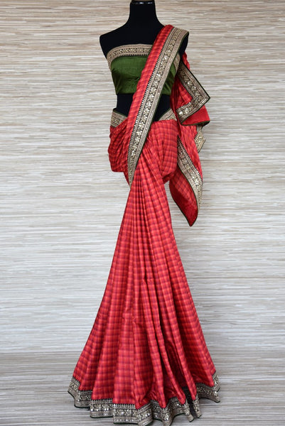 Buy red check pashmina silk saree online in USA with embroidered border from Pure Elegance. Be an epitome of Indian fashion with an exquisite variety of Indian handloom sarees, pure silk sarees, Bollywood sarees from our exclusive fashion store in USA.-full view