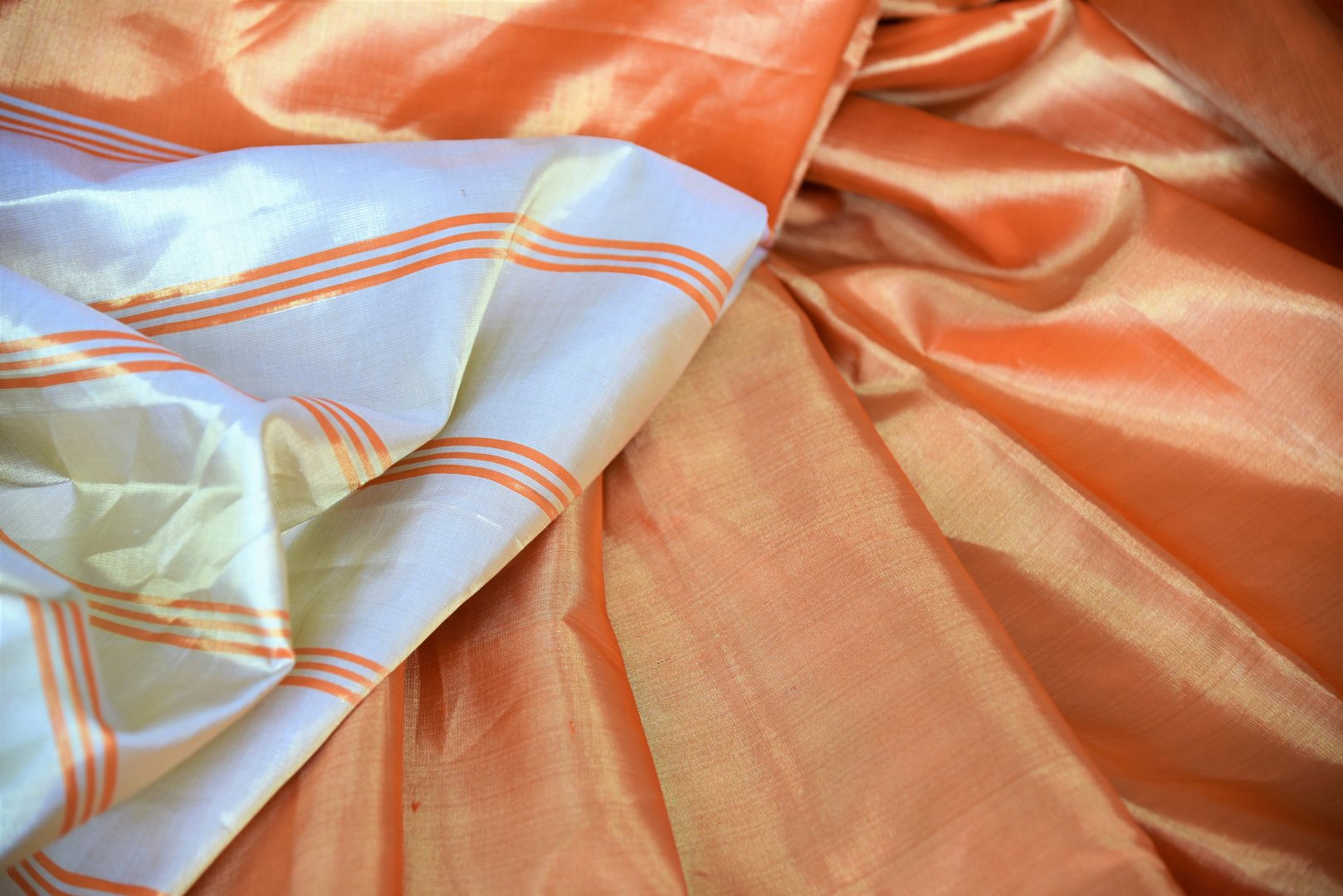 Shop golden orange Kanjeevaram sari online in USA with cream pallu. Shop more such exquisite Indian saris in USA from Pure Elegance. Get floored by a range of designer sarees, Kanchipuram silk saris at our Indian fashion store in USA.-details