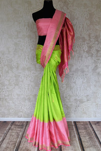 Buy fluorescent green Kanjeevaram silk saree online in USA with pink check border. Shop more such exquisite Indian saris in USA from Pure Elegance. Get floored by a range of designer sarees, pure silk sarees, Kanchipuram silk saris at our Indian fashion store in USA.-full view
