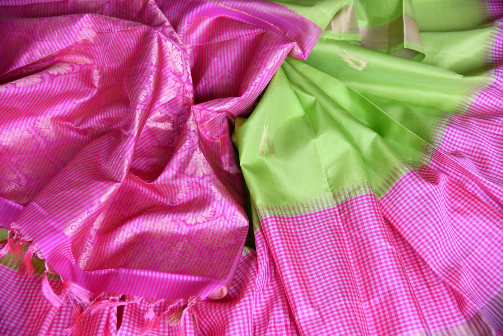 Buy fluorescent green Kanjeevaram silk saree online in USA with pink check border. Shop more such exquisite Indian saris in USA from Pure Elegance. Get floored by a range of designer sarees, pure silk sarees, Kanchipuram silk saris at our Indian fashion store in USA.-details