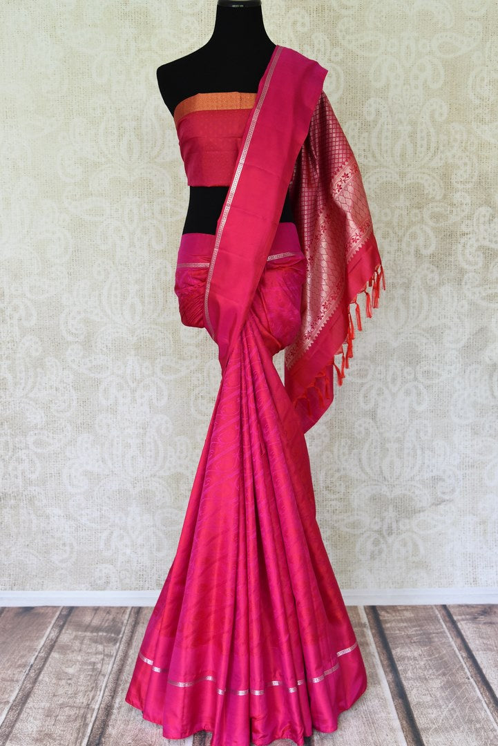 Buy pink jacquard weave Kanchipuram saree online in USA with zari pallu. Channel your inner Indian diva with a range exquisite traditional Kanjivaram sarees from Pure Elegance Indian fashion store in USA. Shop now.-full view