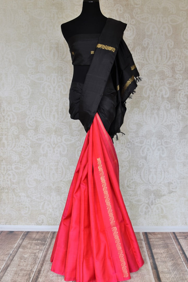 Buy pink and black half and half Kanjeevaram sari online in USA with zari creeper design Elevate your traditional saree style with beautiful Indian Kanchipuram silk saris from Pure Elegance Indian fashion store in USA. We also have a stunning variety of bridal sarees for Indian brides in USA. Shop now.-full view