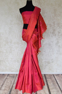 Buy orange pink Kanchipuram saree online in USA with peacock and flower zari buta. Shine bright in best of Indian designer sarees from Pure Elegance Indian fashion store in USA on special occasions. Choose from a splendid variety of Kanjivaram silk sarees, Banarasi sarees, pure handwoven saris. Shop online.-full view