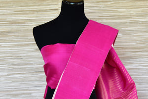 Buy powder pink Kanjivaram saree online in USA with solid pink border. Update your saree wardrobe with latest designs in Kanchipuram silk sarees from Pure Elegance Indian clothing in USA. Shop online now.-blouse pallu