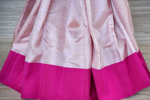 Buy powder pink Kanjivaram saree online in USA with solid pink border. Update your saree wardrobe with latest designs in Kanchipuram silk sarees from Pure Elegance Indian clothing in USA. Shop online now.-pleats
