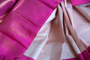 Buy powder pink Kanjivaram saree online in USA with solid pink border. Update your saree wardrobe with latest designs in Kanchipuram silk sarees from Pure Elegance Indian clothing in USA. Shop online now.-details