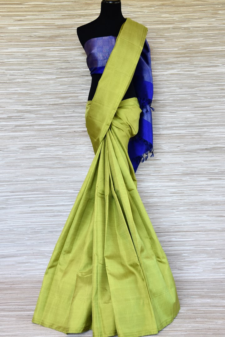 Buy solid green Kanjivaram sari online in USA with blue zari pallu. Update your saree wardrobe with latest designs in Kanchipuram silk sarees from Pure Elegance Indian clothing in USA. Shop online now.-full view