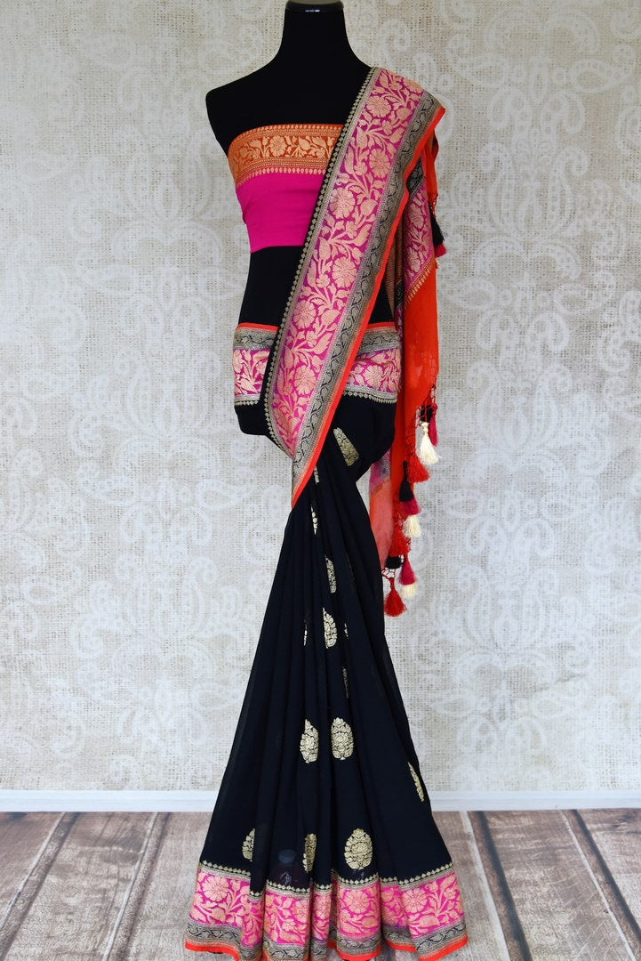 Buy captivating black georgette Banarasi saree online in USA with floral zari buta and pink foliate zari border. Elevate your traditional saree style with beautiful Indian Banarasi saris from Pure Elegance Indian fashion store in USA. We also have a stunning variety of bridal saris for Indian brides in USA. Shop now.-full view