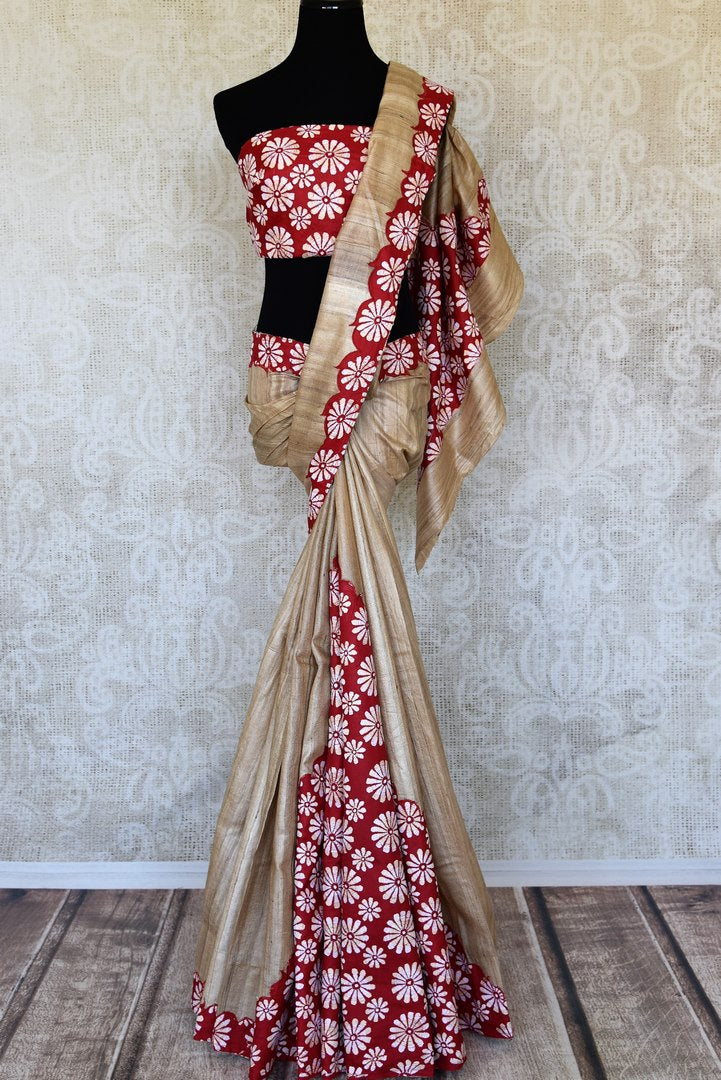 Buy beige and red floral Kantha work tussar saree online in USA. Enhance your ethnic style with exquisite Indian handloom sarees from Pure Elegance Indian clothing store in USA. Pick from a range of vibrant silk sarees, Banarasi saris, Kanchipuram sarees for a stunning ethnic style.-full view