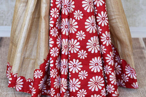 Buy beige and red floral Kantha work tussar saree online in USA. Enhance your ethnic style with exquisite Indian handloom sarees from Pure Elegance Indian clothing store in USA. Pick from a range of vibrant silk sarees, Banarasi saris, Kanchipuram sarees for a stunning ethnic style.-pleats