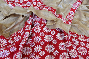 Buy beige and red floral Kantha work tussar saree online in USA. Enhance your ethnic style with exquisite Indian handloom sarees from Pure Elegance Indian clothing store in USA. Pick from a range of vibrant silk sarees, Banarasi saris, Kanchipuram sarees for a stunning ethnic style.-details