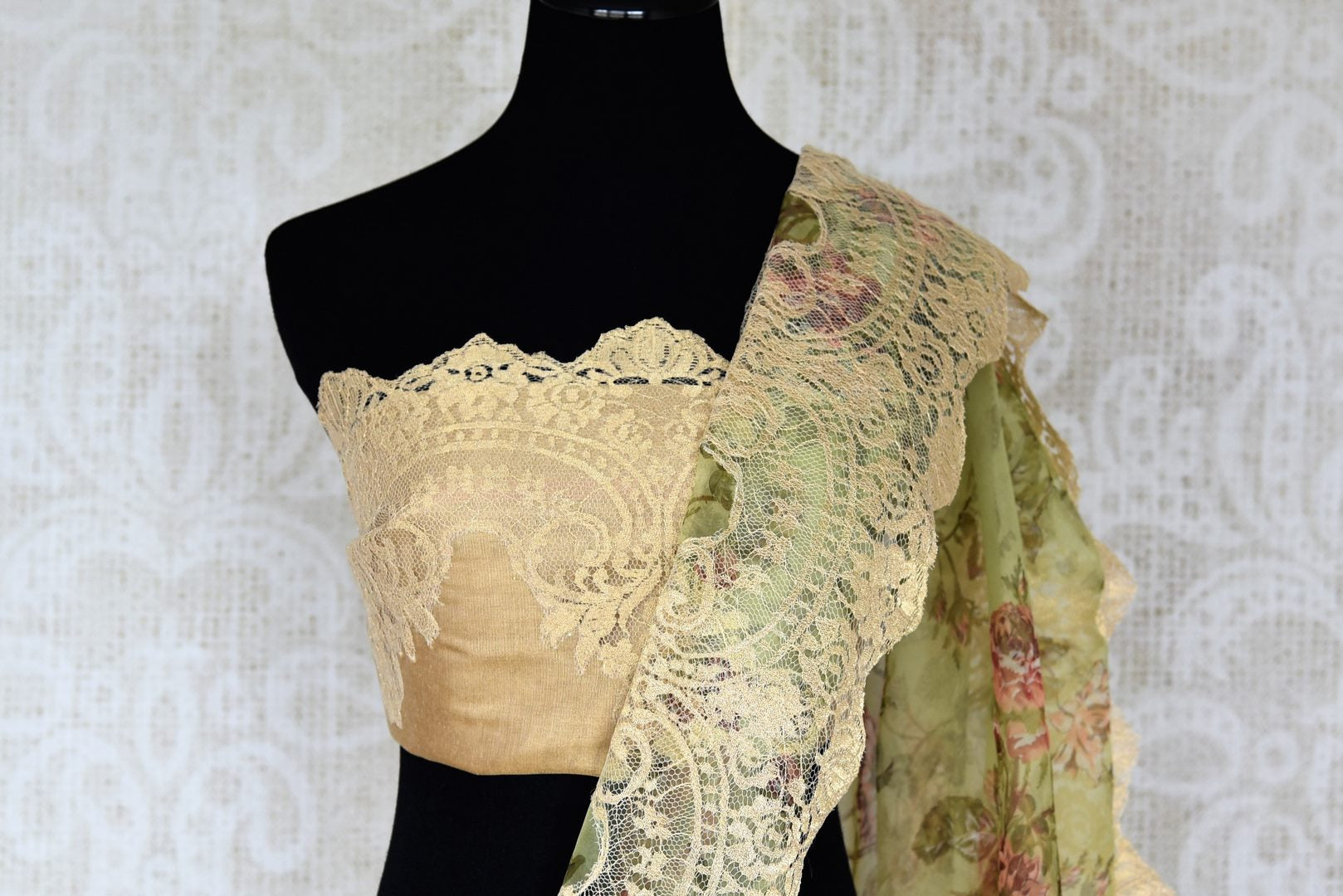 Shop green floral print organza sari online in USA with net border. Keep your wardrobe update with latest Indian handwoven sarees from Pure Elegance Indian fashion store in USA. Shop beautiful Benarasi saris, pure silk sarees, Kanchipuram sarees for Indian women in USA from our online store.-blouse pallu