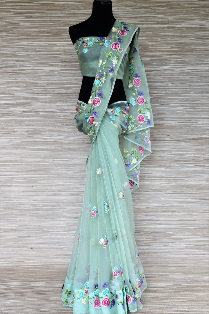 Buy pastel green floral embroidery organza sari online in USA. Get your hands on exquisite Indian designer sarees in USA from Pure Elegance Indian clothing store for various special occasions like weddings and parties. Shop online now.-full view